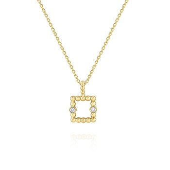 Diamond Square Frame Pendant Necklace Set in 14 Kt. Gold