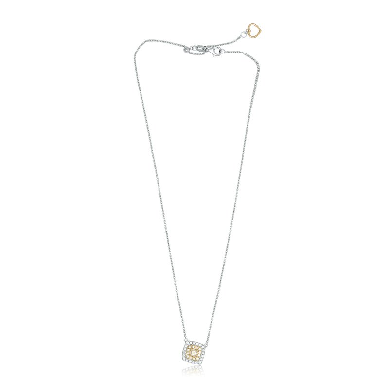 Roman & Jules Cushion Cut Double Halo Drop Necklace