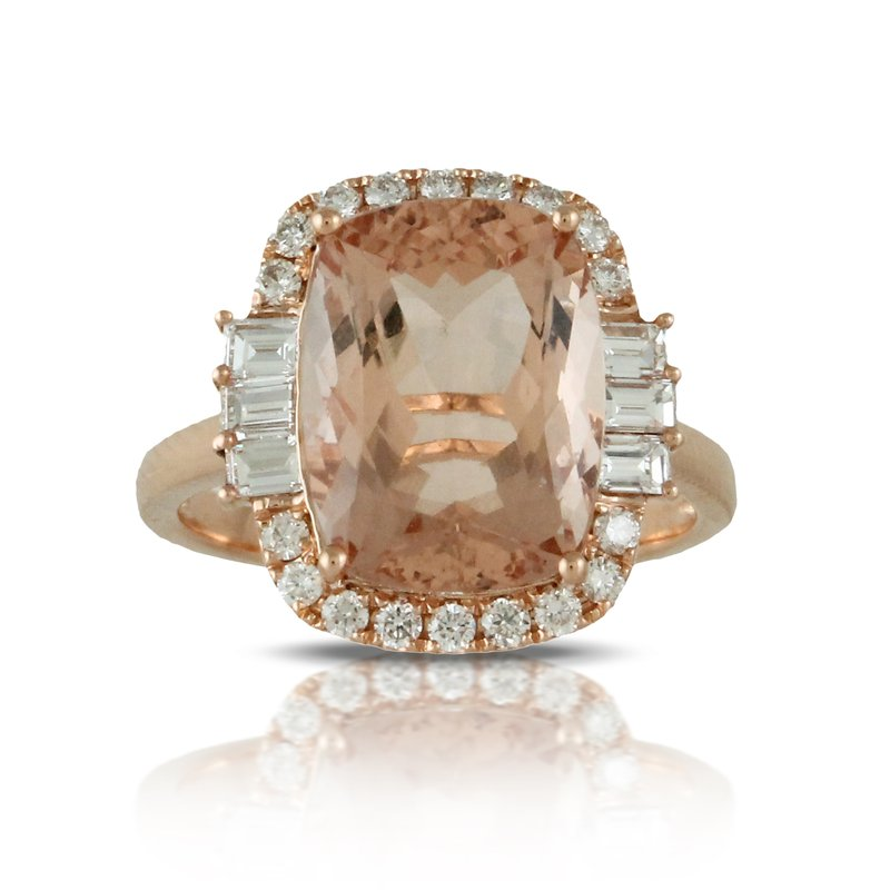 Doves Rose Morganite Halo Ring 18KR