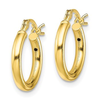 Sterling Silver Gold-Tone Polished 2x14mm Hoop Earrings