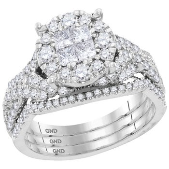 14kt White Gold Womens Princess Diamond Cluster 3-Piece Bridal Wedding Engagement Ring Band Set 1-1/2 Cttw