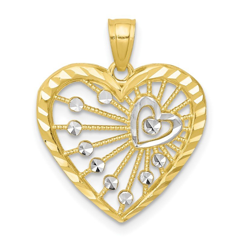 Quality Gold 10K w/Rhodium Heart Charm
