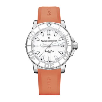 Patravi ScubaTec 37mm Stainless Orange Strap Womens Watch