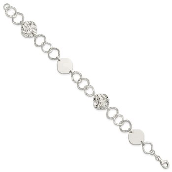 Sterling Silver Polished and Textured Fancy Link Bracelet