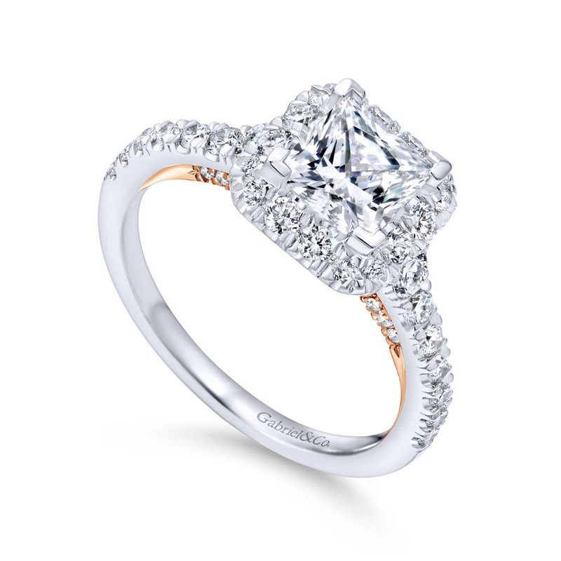 Gabriel Bridal 14K White-Rose Gold Princess Halo Diamond Engagement Ring