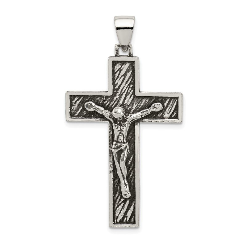 Quality Gold Sterling Silver Antiqued Large Box Cross Crucifix Pendant