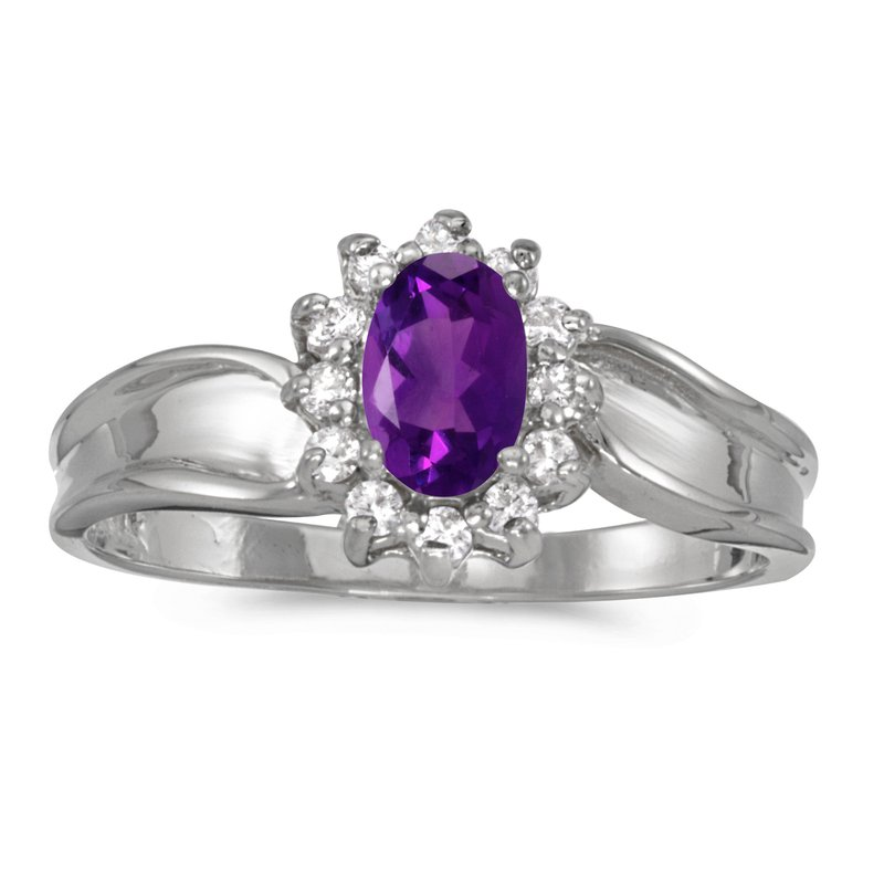 Color Merchants 10k White Gold Oval Amethyst And Diamond Ring