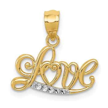 14k w/Rhodium Diamond-cut LOVE Pendant