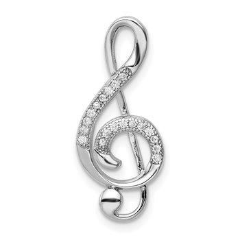Sterling Silver Rhodium-plated Polished CZ Treble Clef Slide