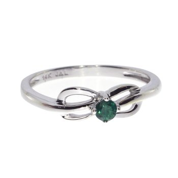 14k White Gold Emerald Swirl Ring