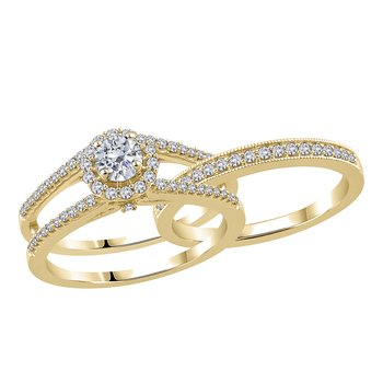 5/8ctw 14k Yellow Gold With Matching Band 0.15ctw