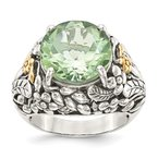 Quality Gold Sterling Silver w/14k Green Quartz Ring