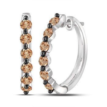 10kt White Gold Womens Round Brown Color Enhanced Diamond Hoop Earrings 1.00 Cttw