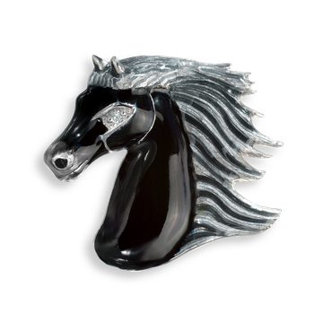 Sterling Silver Brooch-Horse-Black-Diamond