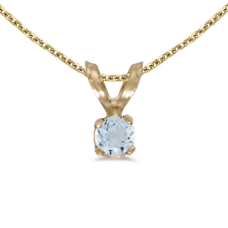 Color Merchants 14k Yellow Gold Round Aquamarine Pendant