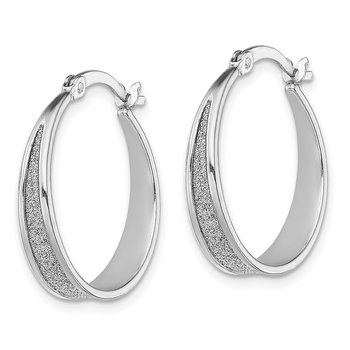 Sterling Silver RH-plated Enamel Glitter Fabric Tapered Hoop Earrings
