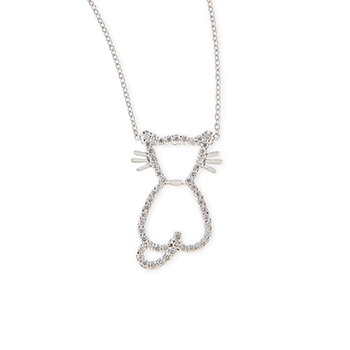 18Kt White Gold Diamond Cat Pendant