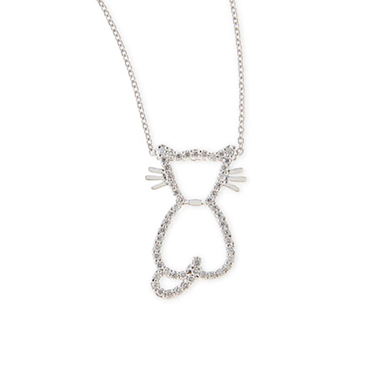 Roberto Coin 18Kt White Gold Diamond Cat Pendant