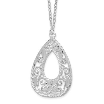 Sterling Silver Polished and Diamond-cut Fancy Teardrop 17.5 inch Necklace