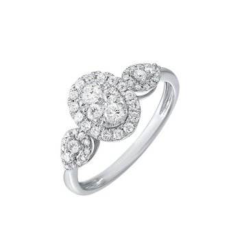Diamond Antique Oval Triple Halo Engagement Ring in 14k White Gold (½ ctw)