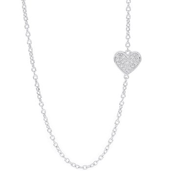 Sterling Silver 1/10ct Diamond Sideways Heart Necklace