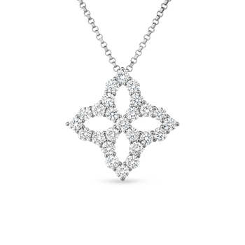 18KT DIAMOND OUTLINE LARGE FLOWER PENDANT NECKLACE