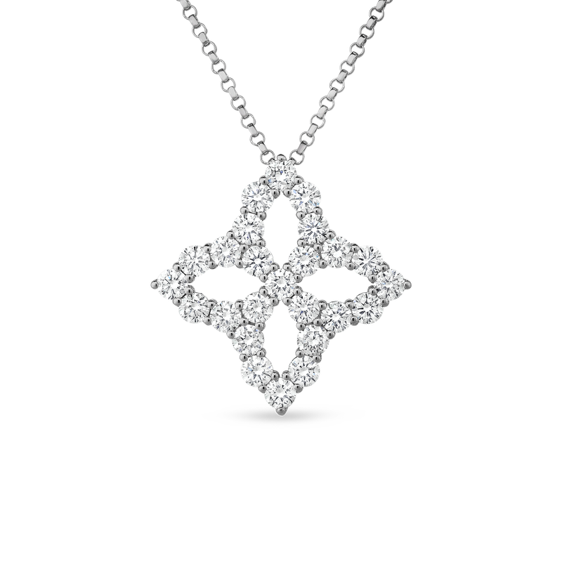 Roberto Coin 18Kt Diamond Outline Large Flower Pendant Necklace
