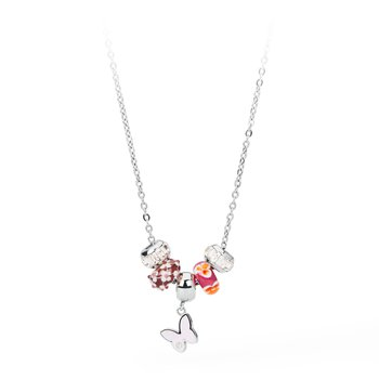316L stainless steel, pink enamel, coloured glass and coloured Swarovski® Elements crystals.
