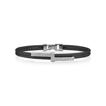 Black Cable Opulence Bracelet with 18kt White Gold & Diamonds