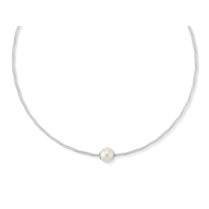 ALOR Grey Cable Choker Necklace with Fresh Water Pearl