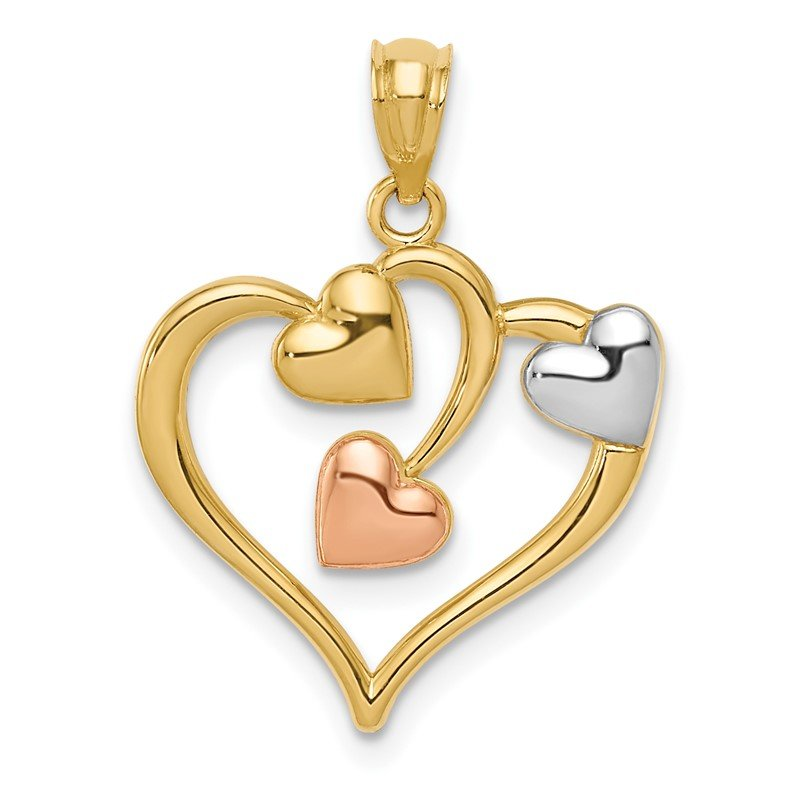 Quality Gold 14K Two-tone and White Rhodium Polished Hearts Pendant