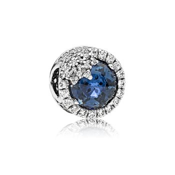 Dazzling Snowflake Charm, Twilight Blue Crystals Clear Cz