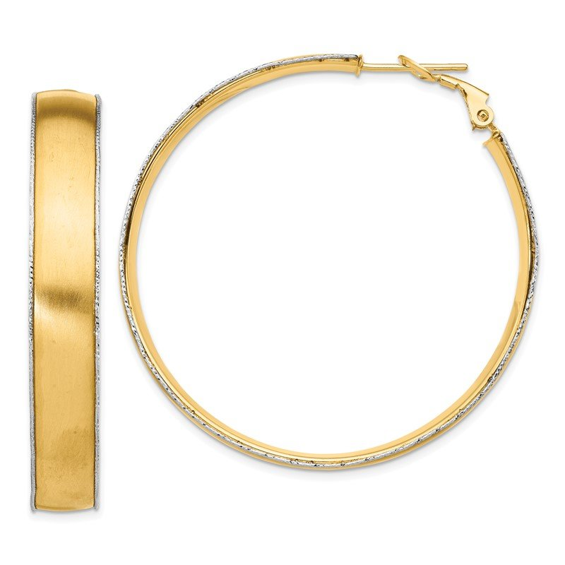 Quality Gold 14ky 7.5mm Satin WG D/C wire Accent Round Omega Back Hoop Earrings