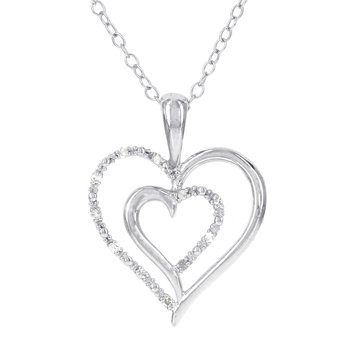 Sterling Silver Diamond Accent Double Cut-out Heart Pendant