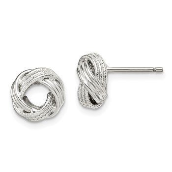 Sterling Silver Textured 10mm Love Knot Post Earrings