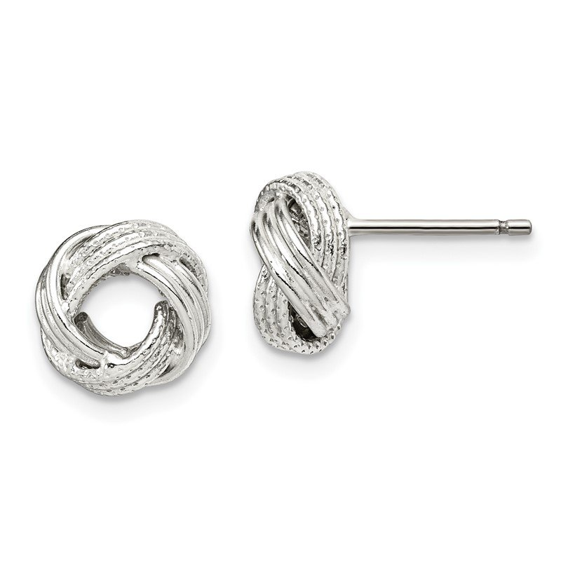 Quality Gold Sterling Silver Textured 10mm Love Knot Post Earrings