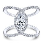 Gabriel Bridal Bestsellers 14K White Gold Marquise Halo Diamond Engagement Ring