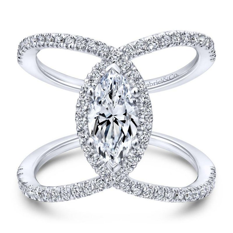Gabriel Bridal 14K White Gold Marquise Halo Diamond Engagement Ring