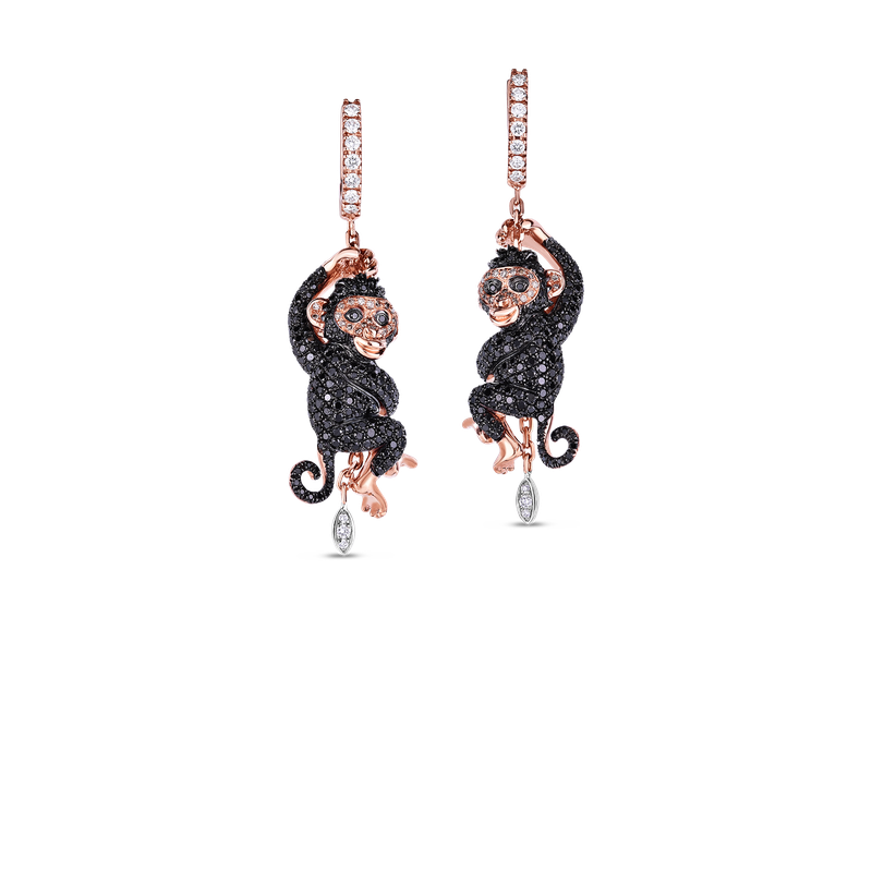 Roberto Coin Monkey Earrings With Black, Brown And White Diamonds
