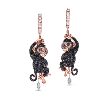 18KT GOLD MONKEY EARRINGS WITH BLACK, BROWN AND WHITE DIAMONDS