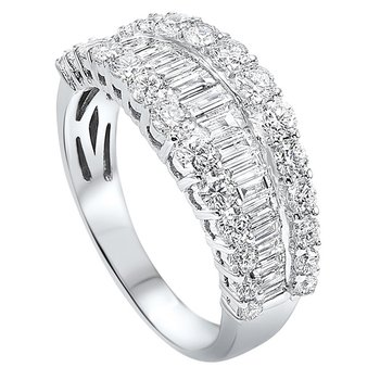 Diamond ¼ Eternity Baguette Tapered Stackable Wedding Band in 14k White Gold (2 1/4 ctw)