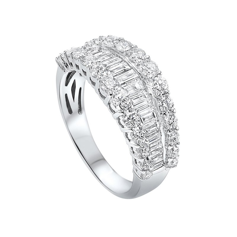 Gems One Diamond ¼ Eternity Baguette Tapered Stackable Wedding Band in 14k White Gold (2 1/4 ctw)