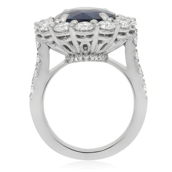 Platinum Oval Cut Sapphire & Diamond Ring