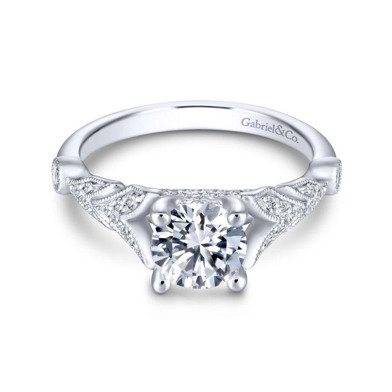 Gabriel & Co. New York 14K White Gold Round Diamond Engagement Ring