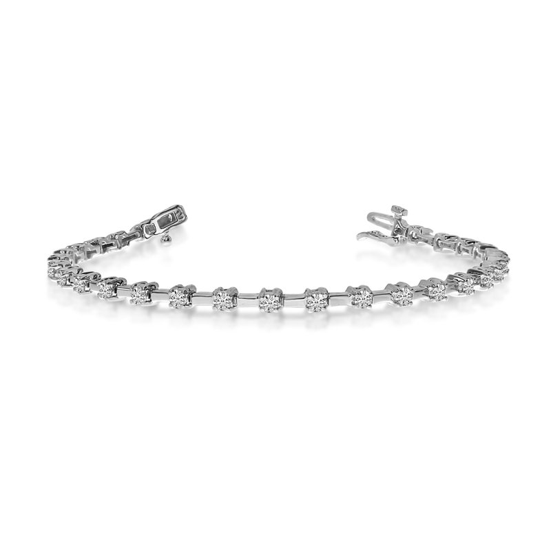 14K White Gold Round Diamond Bar Style Tennis Bracelet