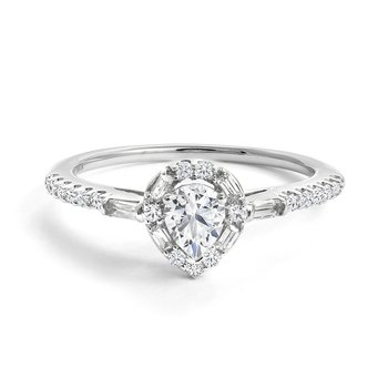 Pear Halo Engagement Ring with Multi-Shape Pavé Diamonds