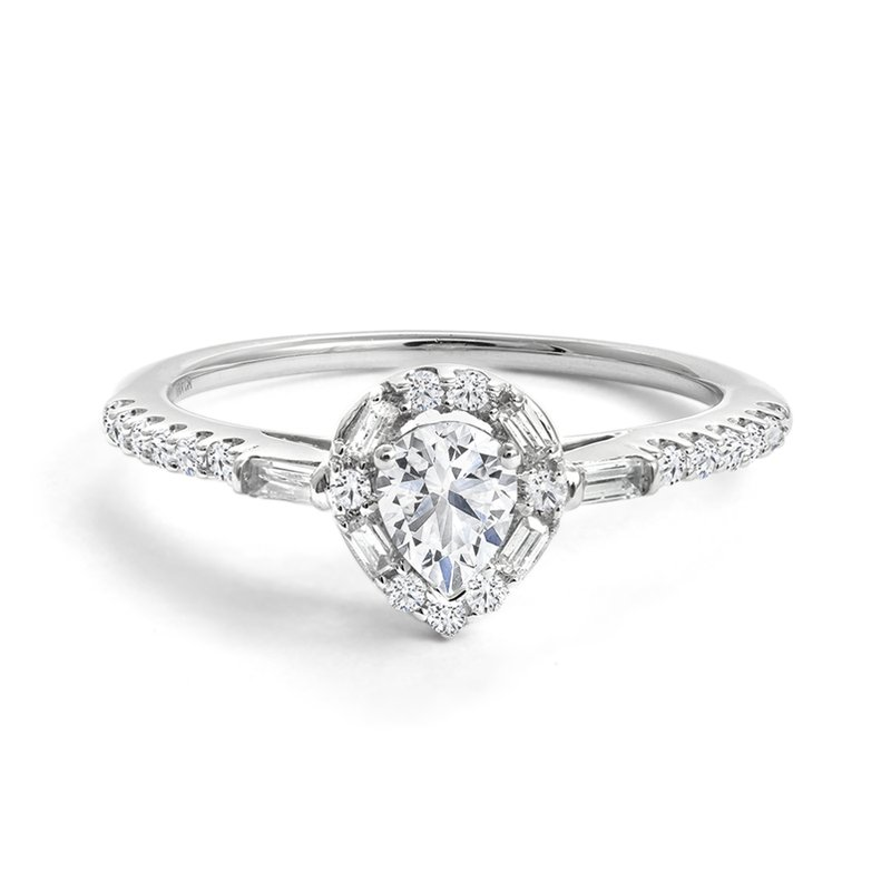 Canadian Rocks Pear Halo Engagement Ring with Multi-Shape Pave Diamonds