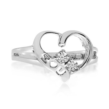 14K White Gold I Love You Two-Stone Diamond Ring