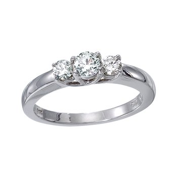 14k White Gold 0.25 Ct Three Stone Trellis Diamond Ring