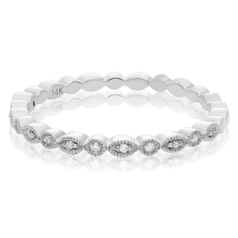 Roman & Jules Milgrain White Gold Eternity Band